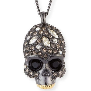 Alexis Bittar crystal-encrusted skull necklace